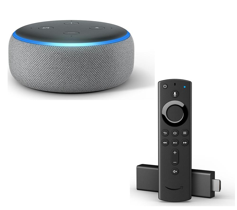 AMAZON Echo Dot (2018) & Fire TV Stick with Alexa Voice Remote Bundle - Heather Grey, Grey
