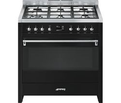 SMEG A1BL-9 90 cm Dual Fuel Range Cooker - Black & Stainless Steel