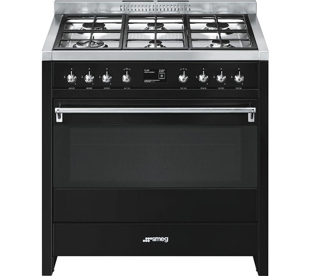 SMEG A1BL-9 90 cm Dual Fuel Range Cooker - Black & Stainless Steel