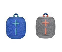 ULTIMATE EARS WONDERBOOM 2 Portable Bluetooth Speaker Grey & Blue Bundle