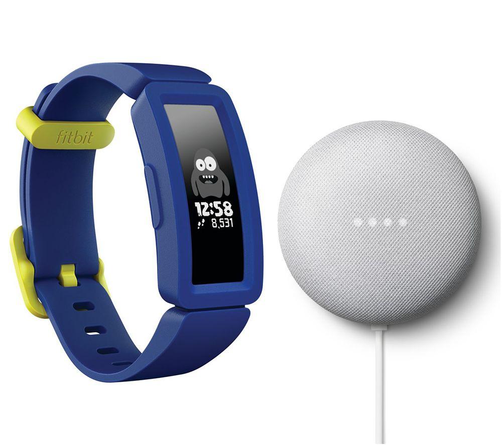 FITBIT Ace 2 Kids Fitness Tracker & Nest Mini (2nd Gen) Chalk Bundle - Blue & Yellow, Blue