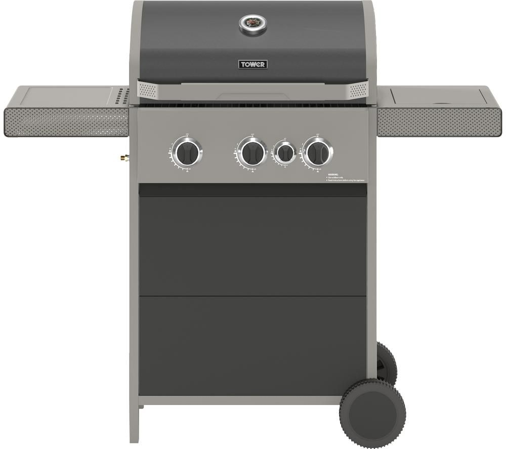 TOWER Stealth 3000 T978501 Portable 3 Burner Grill Gas BBQ - Black
