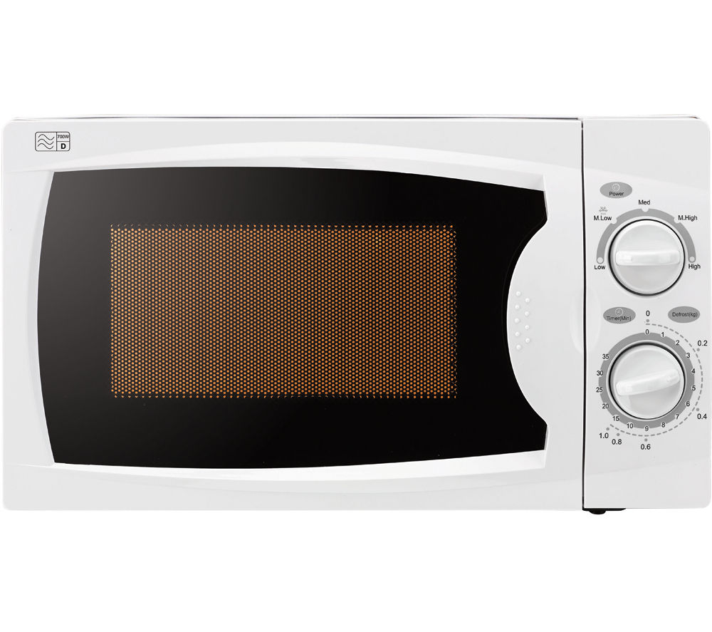 ESSENTIALS C17MW14 Solo Microwave - White + M-Cuisine 4-Piece Stackable Microwave Cooking Set - Stone & Orange