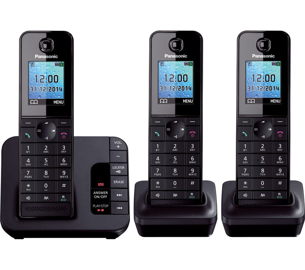 2af9f39f678 PANASONIC KX-TG8183EB Cordless Phone with Answering Machine - Triple  Handsets