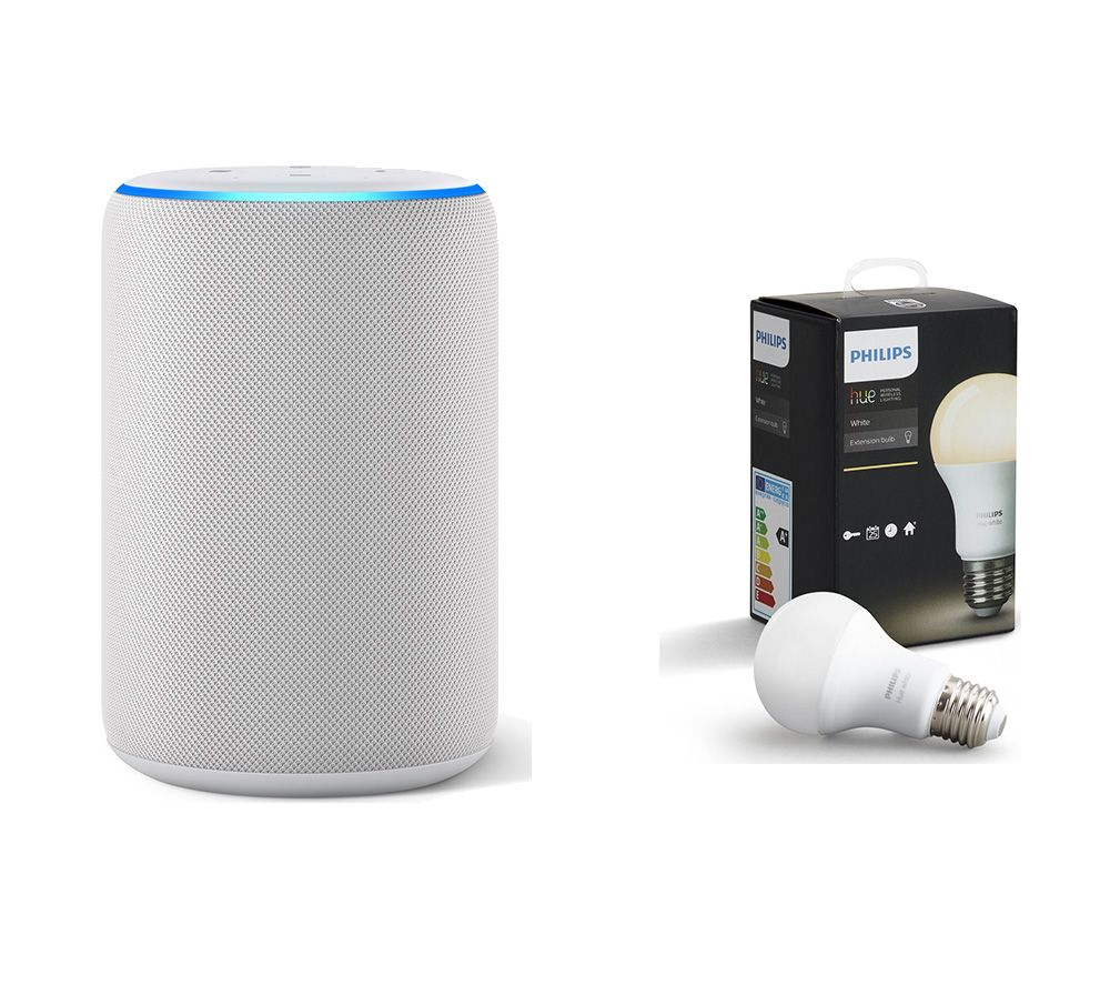 AMAZON Echo Plus (2018) & E27 Hue White Smart LED Bulb Bundle - White, White