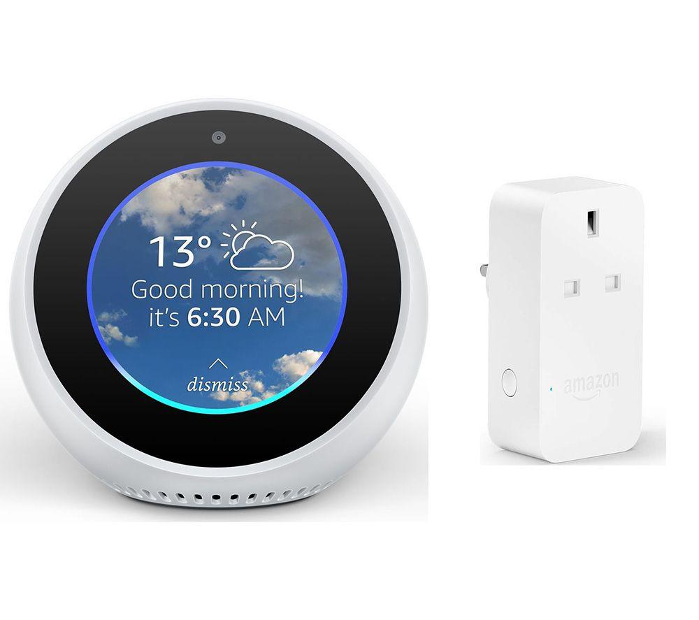 AMAZON Echo Spot & Smart Plug Bundle – White, White