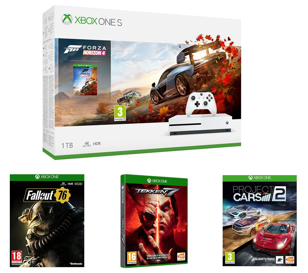 MICROSOFT Xbox One S, Forza Horizon 4, Project Cars 2, Tekken 7, Fallout 76 & Apex Legends Bundle