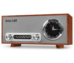Broadway VC-150 FM Retro Bluetooth Clock Radio - Mahogany
