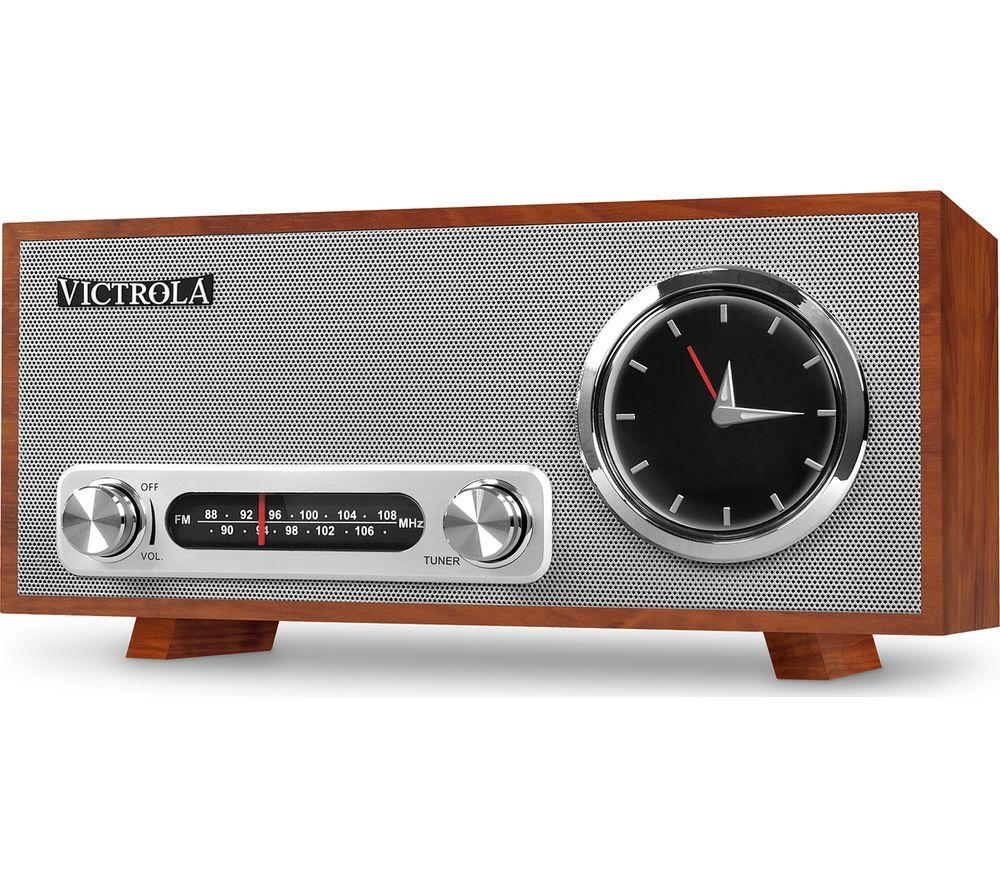 VICTROLA Broadway VC-150 FM Retro Bluetooth Clock Radio - Mahogany