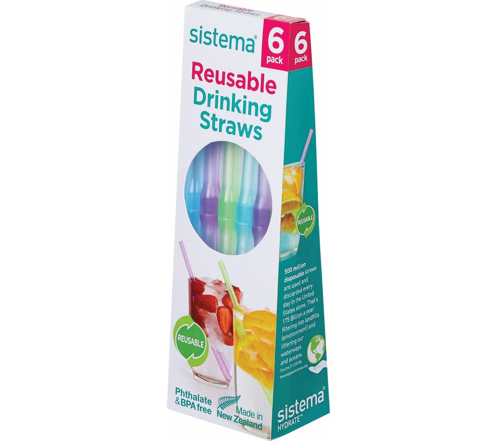 SISTEMA 6-pack Reusable Straws - Blue, Green & Purple