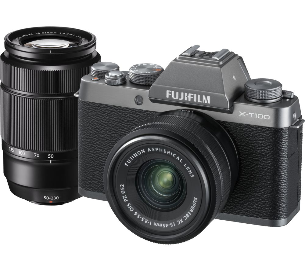 FUJIFILM X-T100 Mirrorless Camera with FUJINON XC 15-45 mm f/3.5-5.6 OIS PZ & XC 50-230 mm f/4.5-6.7 OIS II Lens - Dark Silver