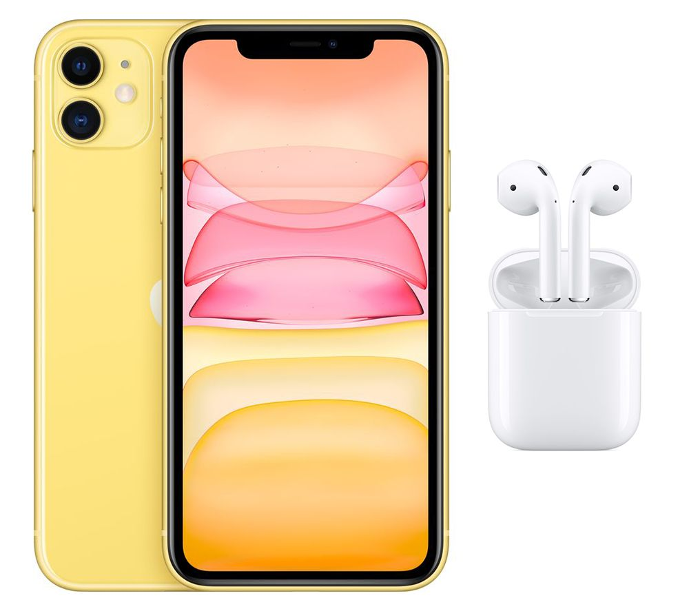 APPLE iPhone 11 & AirPods with Charging Case (2nd generation) Bundle - 128 GB, Yellow, Yellow