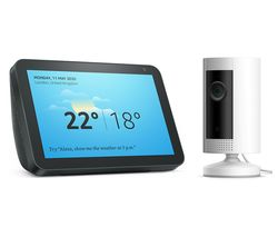 Echo Show 8 (2019) & Indoor Cam Full HD 1080p WiFi Security Camera Bundle - Charcoal & White