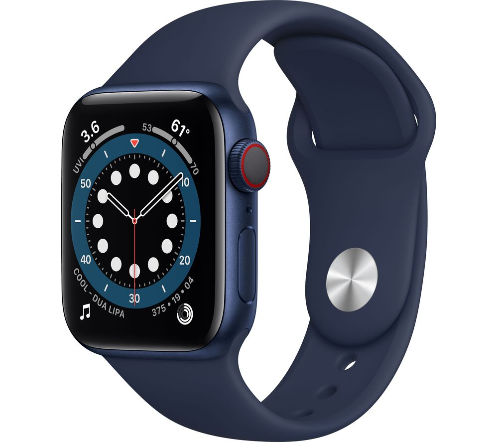 APPLE Watch Series 6 Cellular - Blue Aluminium with Deep Navy Sports Band, 40 mm