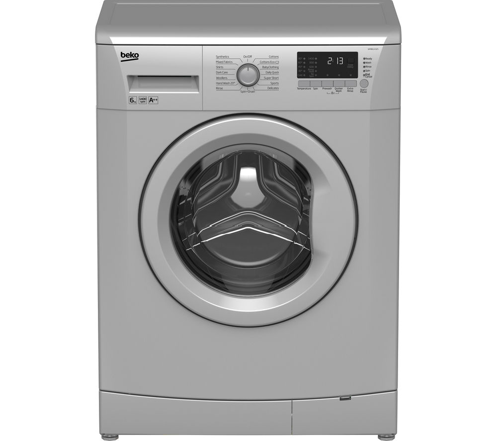 BEKO WMB61432S Washing Machine - Silver + DCX71100W Condenser Tumble Dryer - White