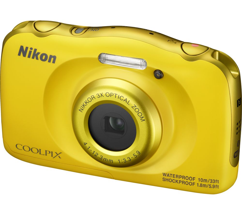 NIKON COOLPIX W100 Tough Compact Camera - Yellow + Camera Case - Black + Extreme Plus Class 10 SD Memory Card Twin Pack - 16 GB
