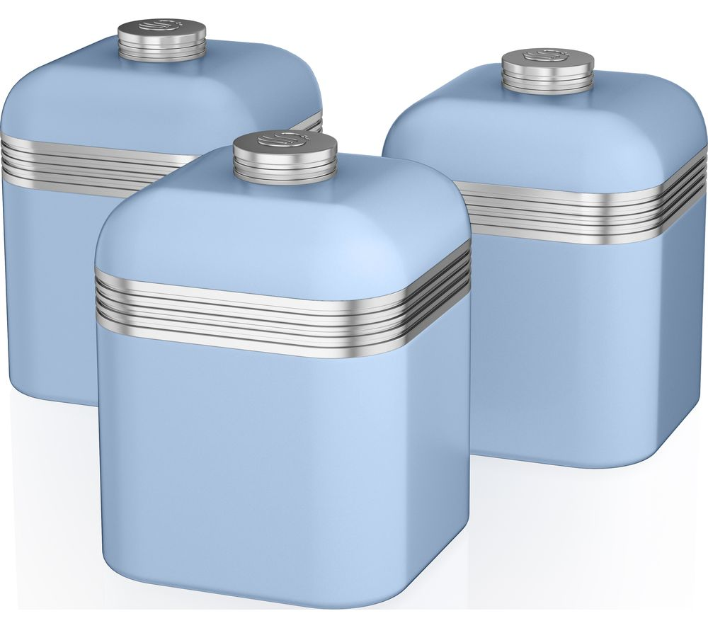 SWAN Retro SWKA1020BLN 1-litre Canisters - Blue, Pack of 3