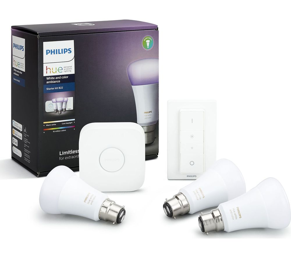 PHILIPS Hue A60 White & Colour Ambience B22 Starter Kit, White