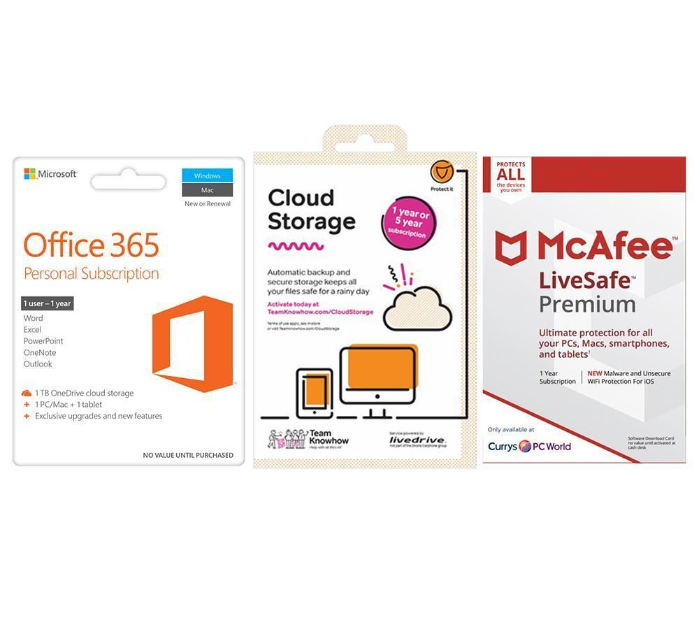 MCAFEE Office 365 Personal, 2 TB Cloud Storage & LiveSafe Unlimited Bundle