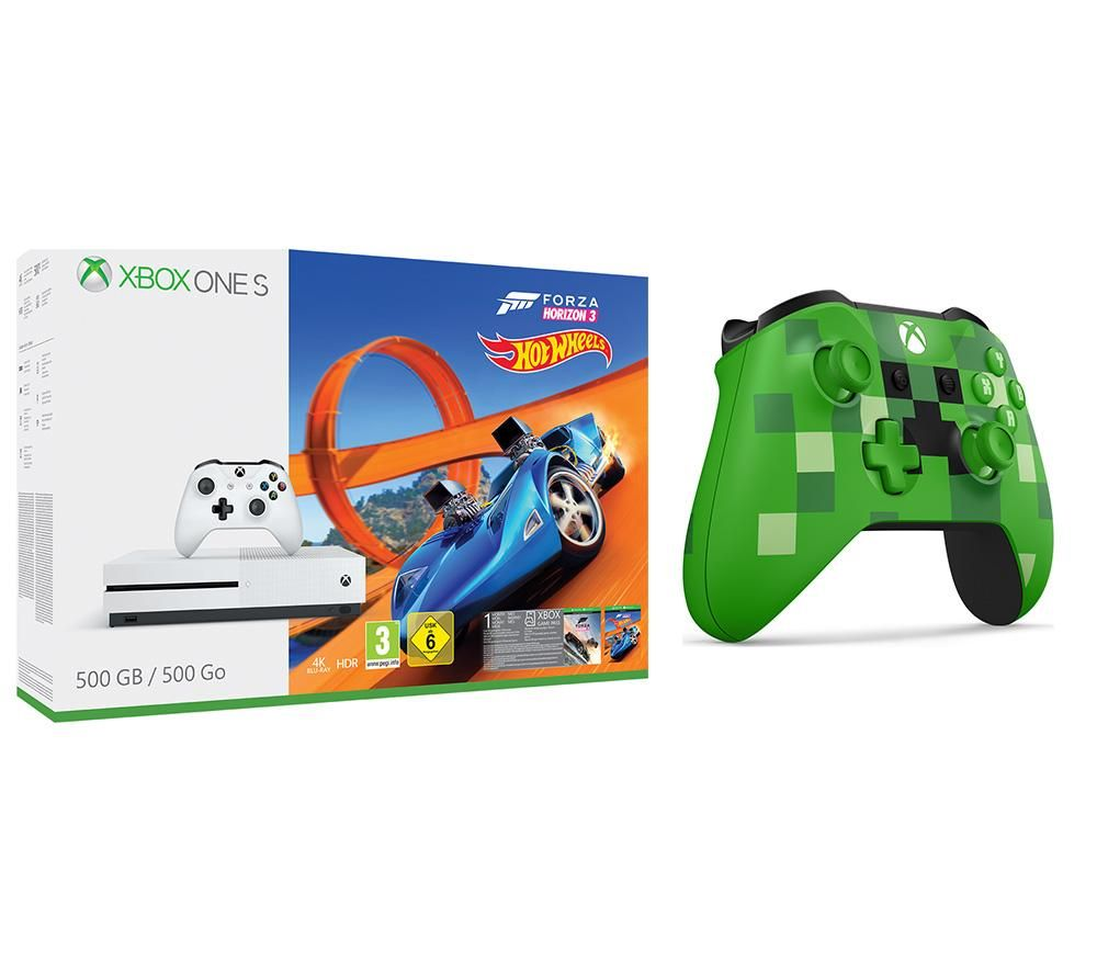 Image of MICROSOFT Xbox One S with Forza 3, Hot Wheels Expansion & Minecraft Creeper Controller