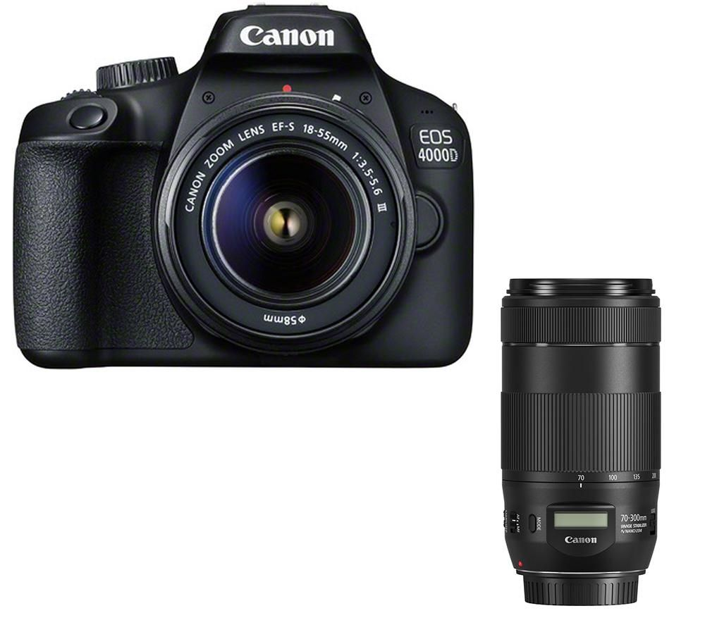 Click to view product details and reviews for Canon Eos 4000d Dslr Camera Ef S 15 88 Mm F 35 56 Lens Ef 75 300 Mm F 4 56 Lens Ef 70 300 Mm F 4 56 Lens.