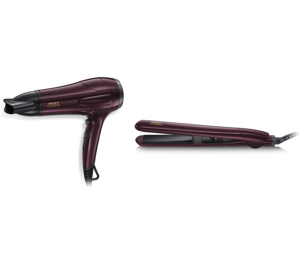 Image of NICKY CLARKE Dry & Style NGP227 Hair Dryer & Straightener Set - Burgundy