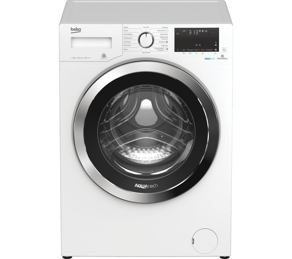 BEKO AquaTech WX94044E0W Bluetooth 9 kg 1400 Spin Washing Machine - White, White