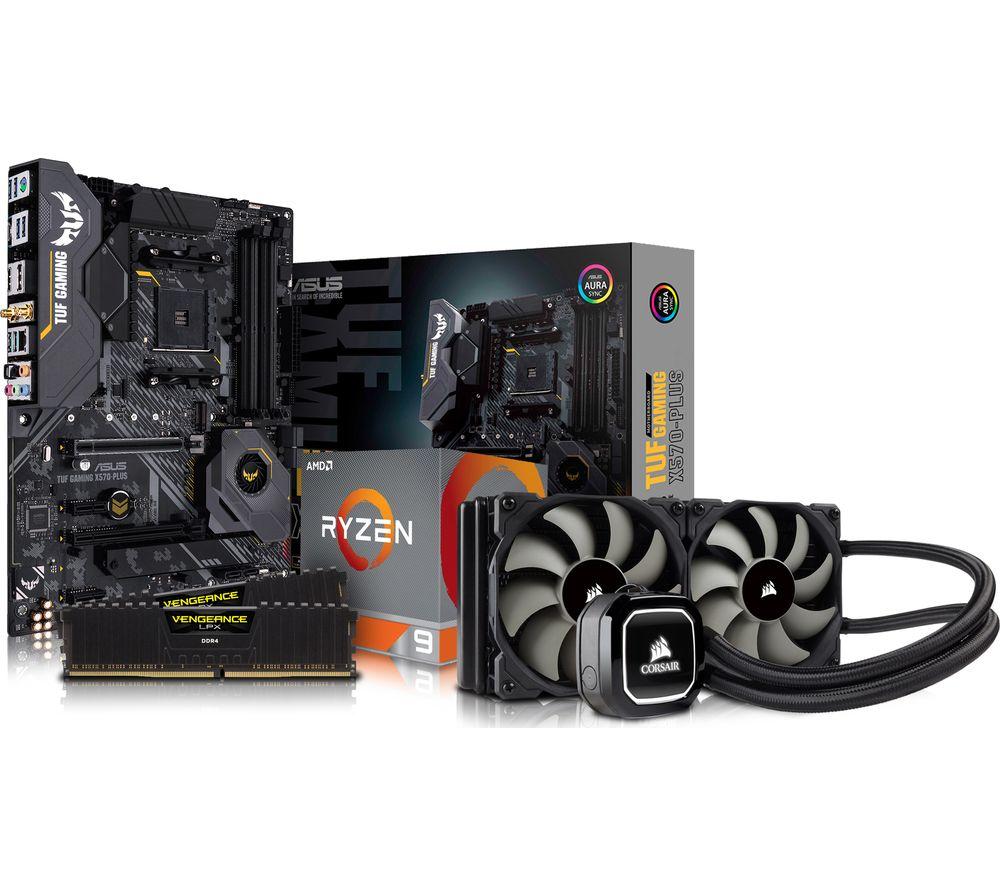 AMD Ryzen 9 Processor, TUF X570 PLUS Motherboard, 16 GB RAM & Corsair  Cooler Components Bundle