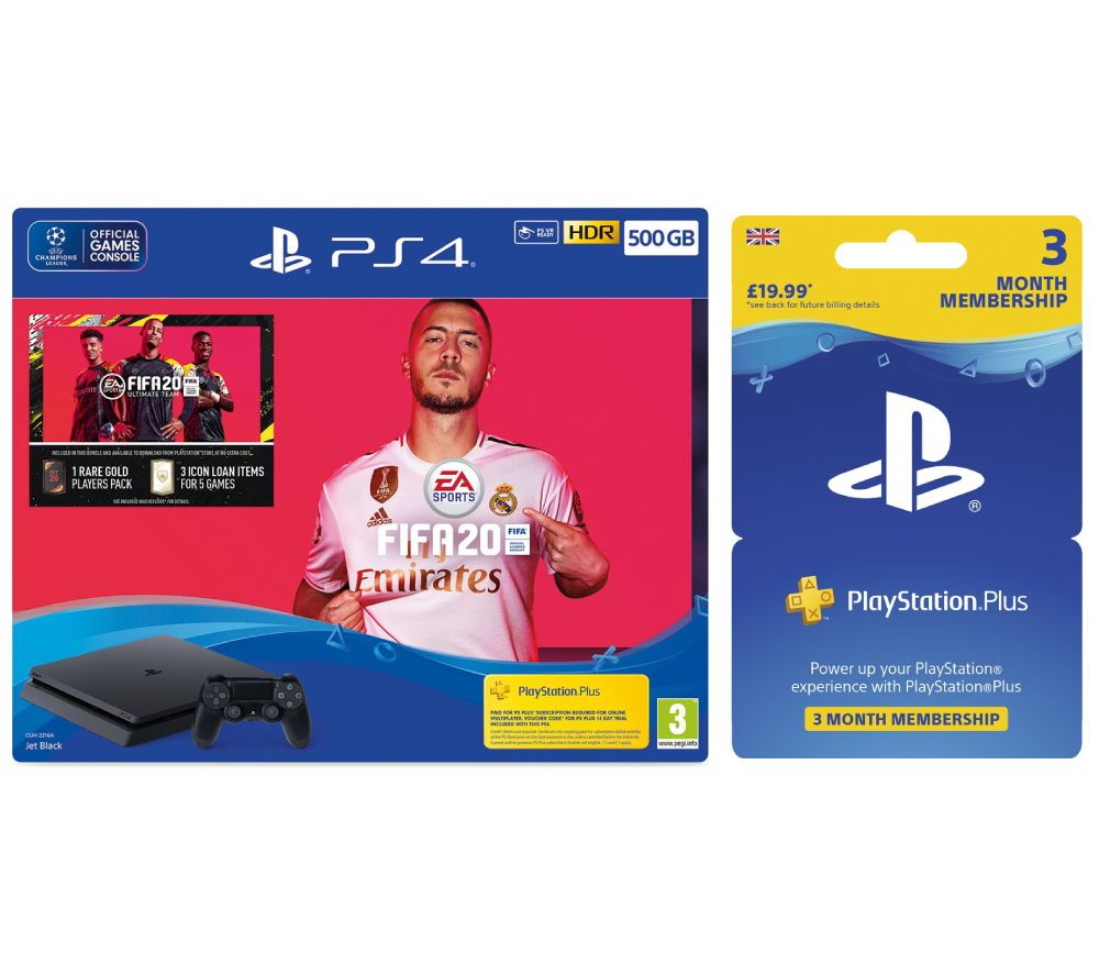 SONY PlayStation 4 with FIFA 20 & PlayStation Plus 3 Month Subscription Bundle