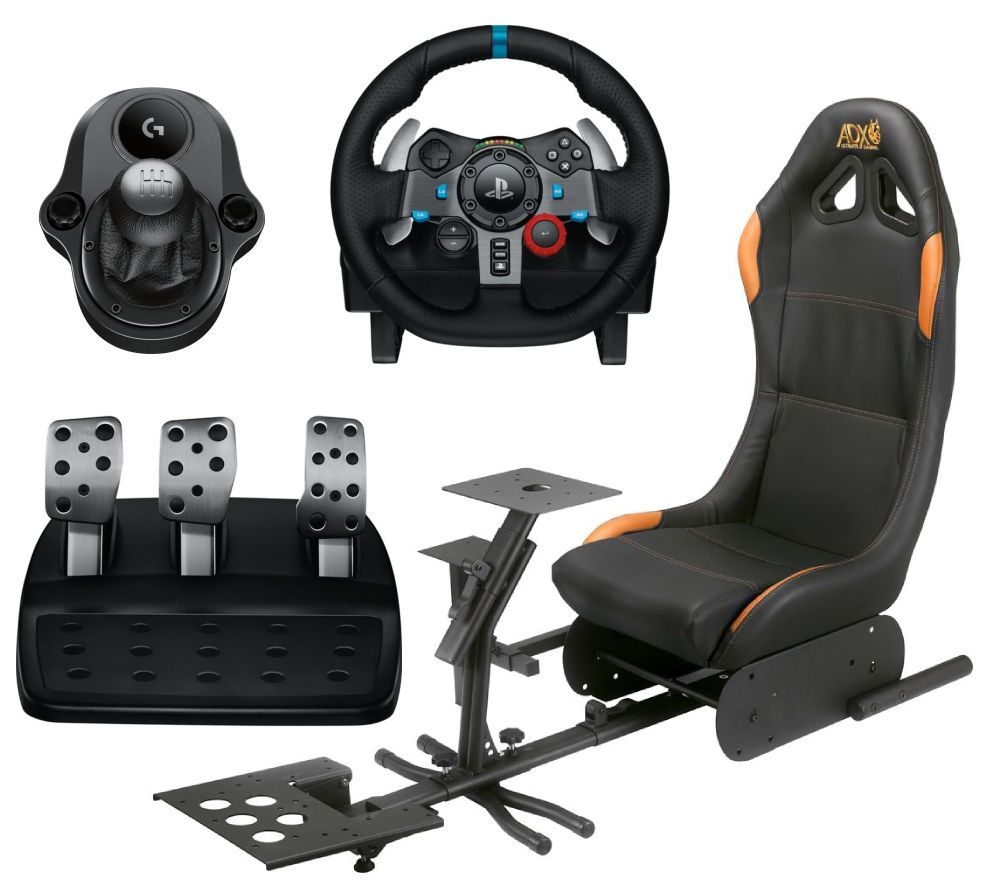 LOGITECH Driving Force G29 Racing Wheel & Pedals, Gaming Chair & Driving Force Shifter Bundle