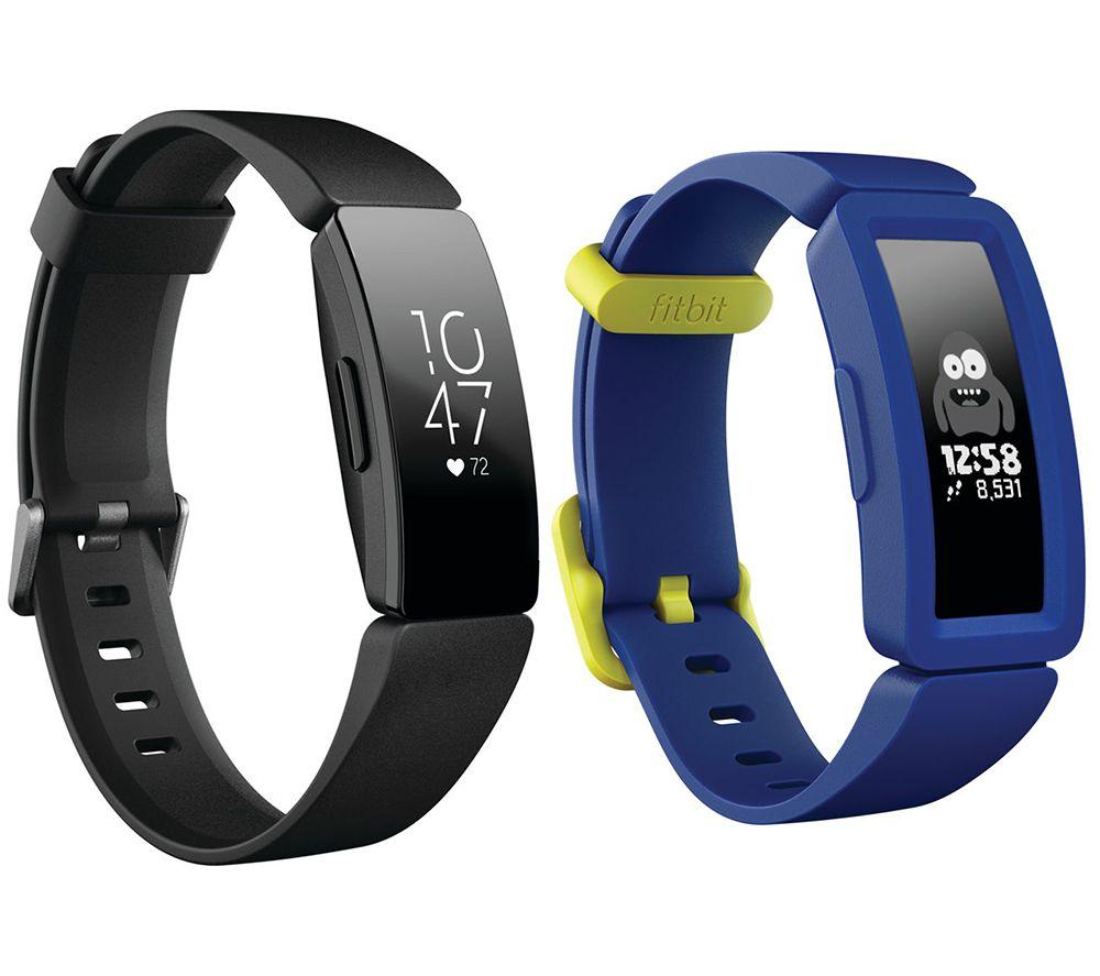 FITBIT Inspire HR Fitness Tracker & Ace 2 Kids Fitness Tracker Bundle - Black & Blue, Black