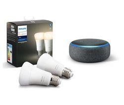 Hue White Bluetooth LED E27 Bulb Twin Pack & Echo Dot (2018) - Charcoal