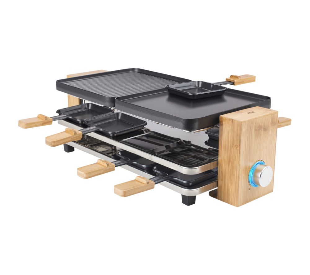 PRINCESS Raclette Pure 8 Grill - Black & Bamboo, Black