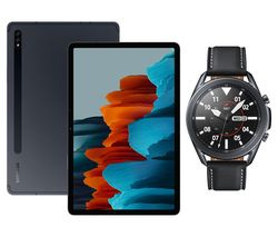 "Galaxy Tab S7 11"" Tablet & Black Galaxy Watch3 Bundle"