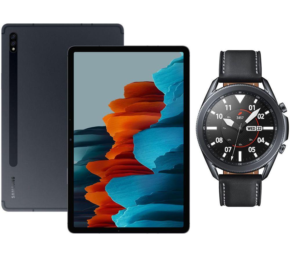 "Image of SAMSUNG Galaxy Tab S7 11"" Tablet & Black Galaxy Watch3 Bundle, Black"