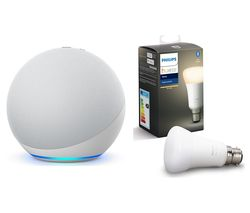 Echo (4th Gen) & B22 Hue White Bluetooth LED Bulb Bundle - Glacier White