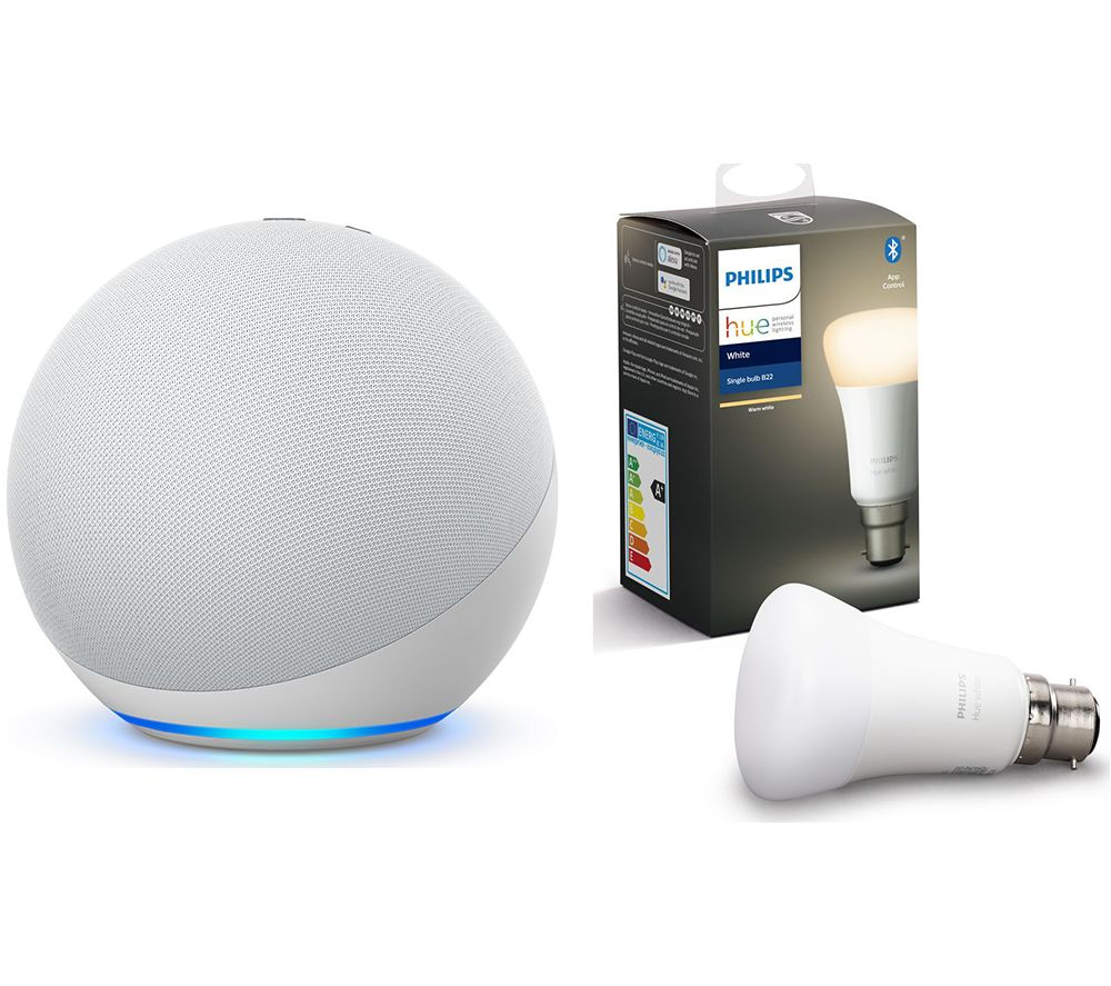 PHILIPS Echo (4th Gen) & B22 Hue White Bluetooth LED Bulb Bundle - Glacier White