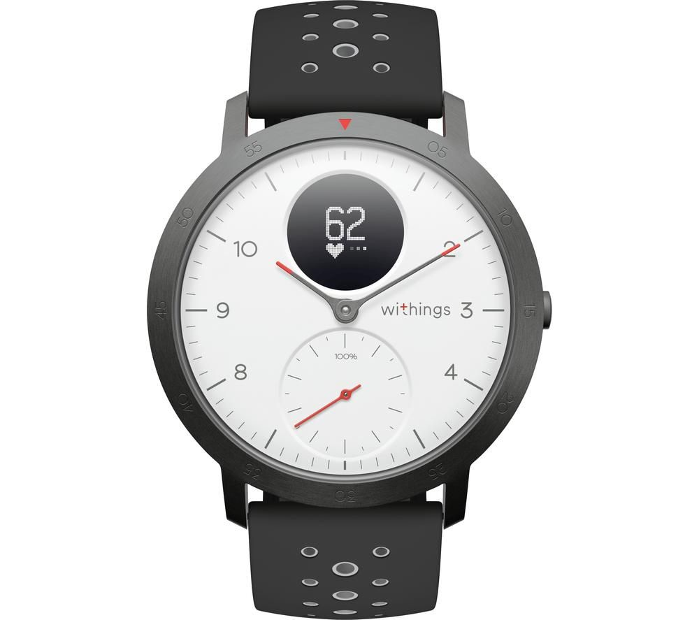 WITHINGS Steel HR Sport Smartwatch - White, Grey & Black, Silicone Strap