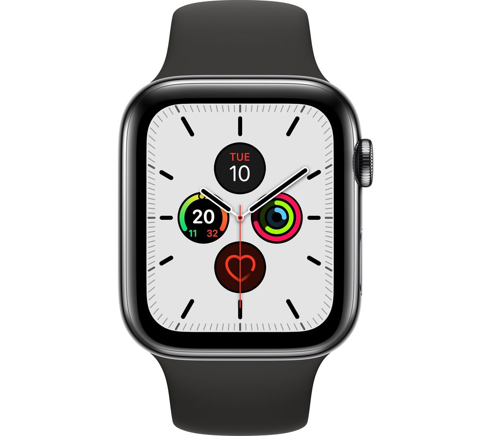 APPLE Watch Series 5 Cellular - Space Black with Black Sports Band, 44 mm