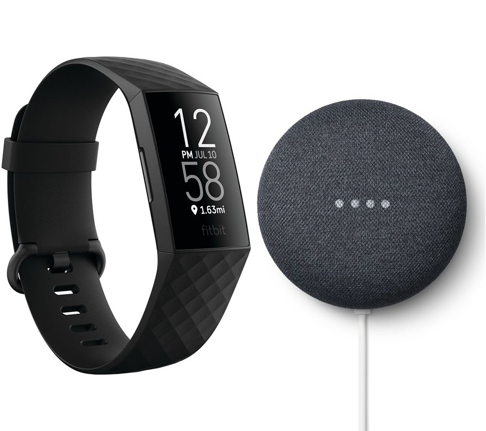 FITBIT Charge 4 Fitness Tracker & Google Nest Mini (2nd Gen) Bundle - Black & Charcoal, Black