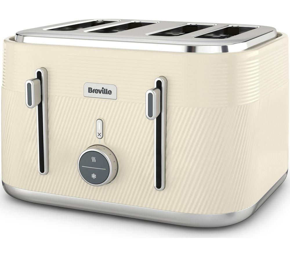 BREVILLE Obliq VTT997 4-Slice Toaster - Vanilla Cream & Silver, Cream