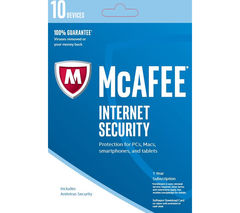 MCAFEE Internet Security 2017 - 1 year for 10 devices (download)
