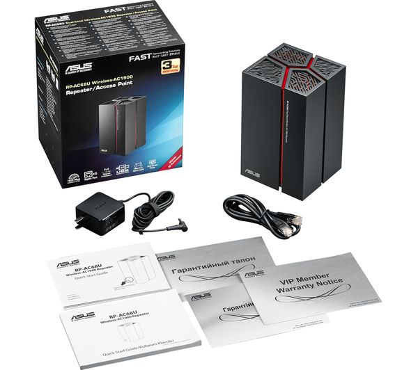 Buy asus rp ac68u wifi range extender ac 1900 dual band - Wireless extender with ethernet ports ...