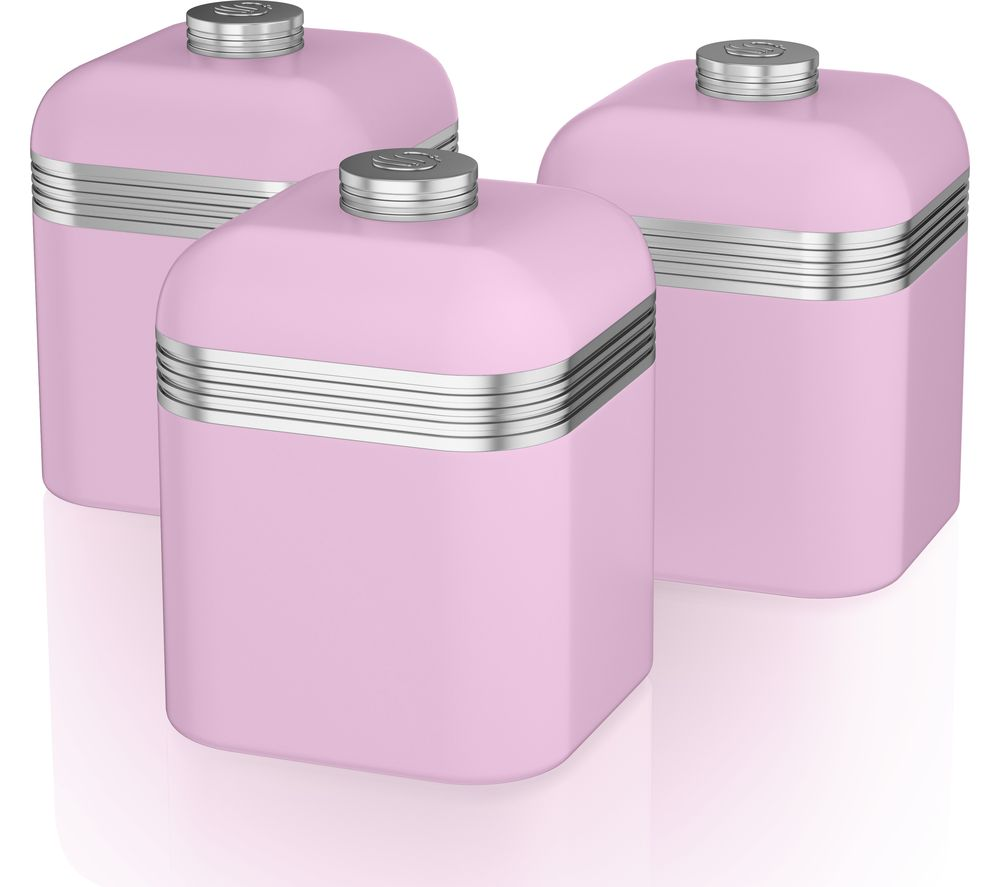 SWAN Retro SWKA1020PN 1-litre Canisters - Pink, Pack of 3