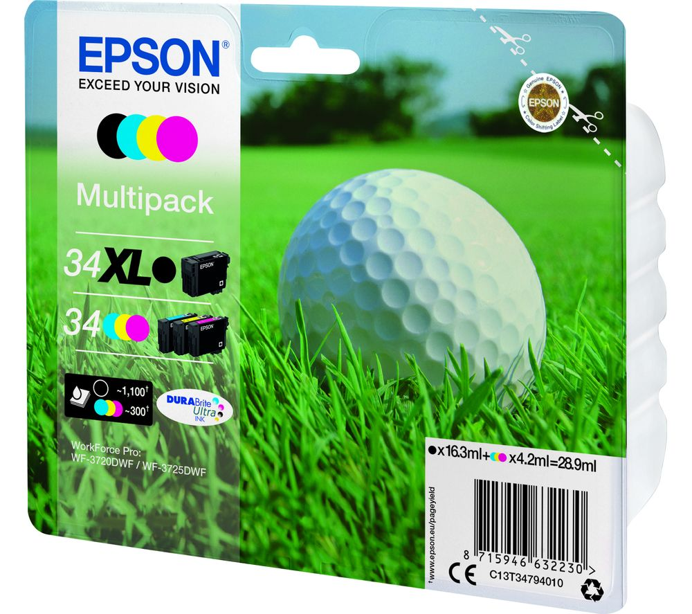 EPSON 34 Golf Ball Cyan, Magenta & Yellow Ink Cartridges - Multipack