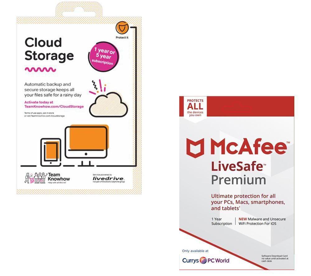 MCAFEE LiveSafe Premium & Cloud Storage 2 TB Backup Service Bundle
