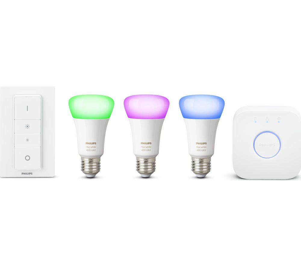 buy philips hue white colour ambiance e27 smart bulb starter kit free delivery currys. Black Bedroom Furniture Sets. Home Design Ideas