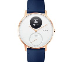 NOKIA Steel HR 36 Fitness Watch - Rose Gold & Blue, Leather Strap