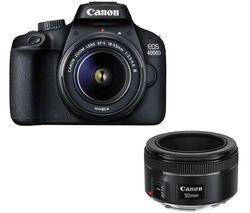 EOS 4000D DSLR Camera, EF-S 18-55 mm f/3.5-5.6, EF 75-300 mm f/4-5.6 & 50 mm f/1.8 Lens Bundle