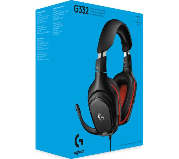 LOGITECH G332 Gaming Headset - Black & Red
